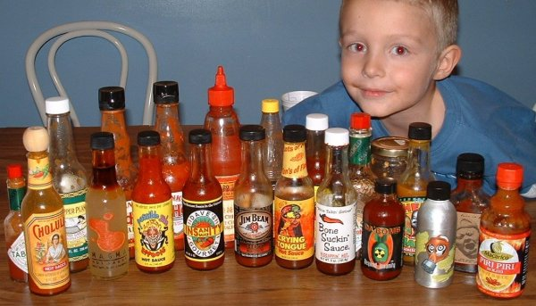 Daniel with hotsauces