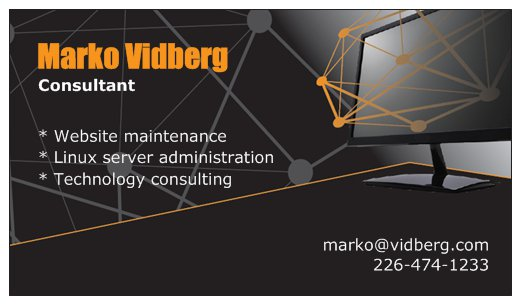 Vidberg Business Card